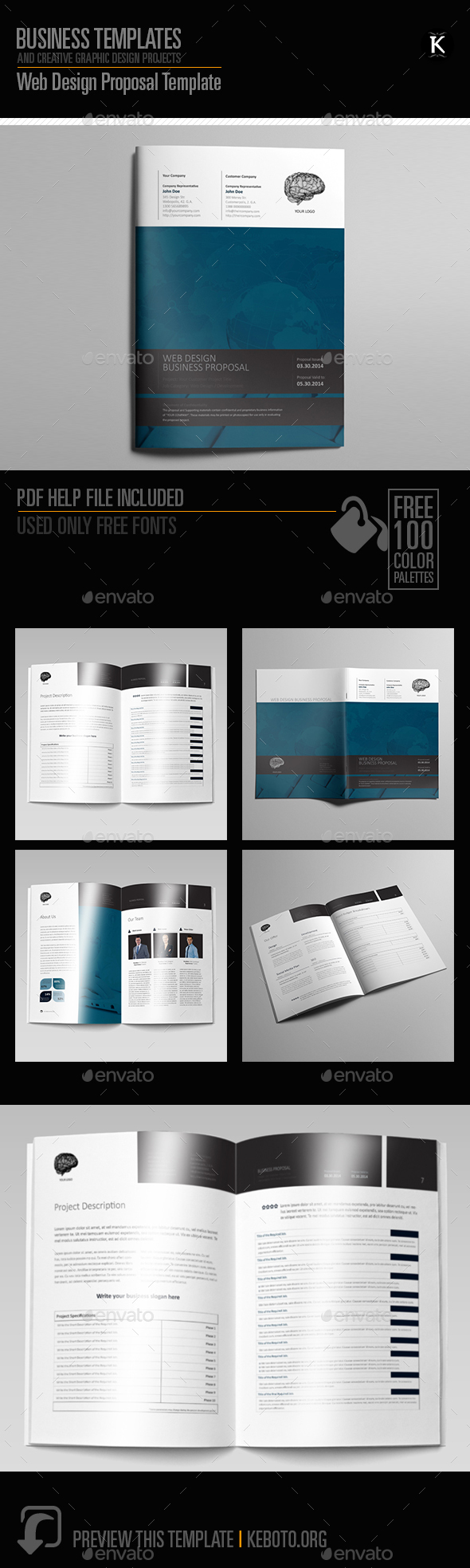 Web Design Proposal Template   Proposals U0026 Invoices Stationery