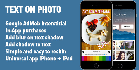 Add Text on Photo Image iOS Universal App Template - CodeCanyon Item for Sale