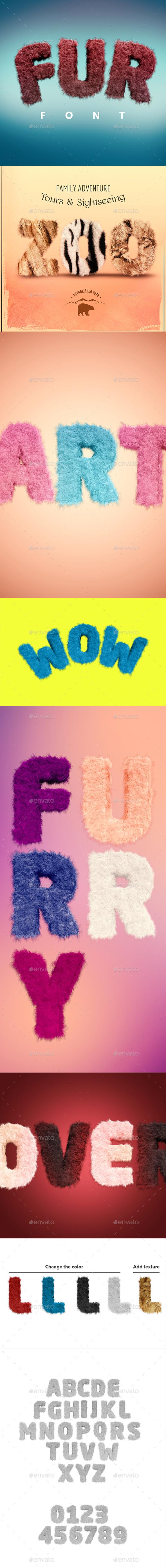 Fur Font - Text 3D Renders