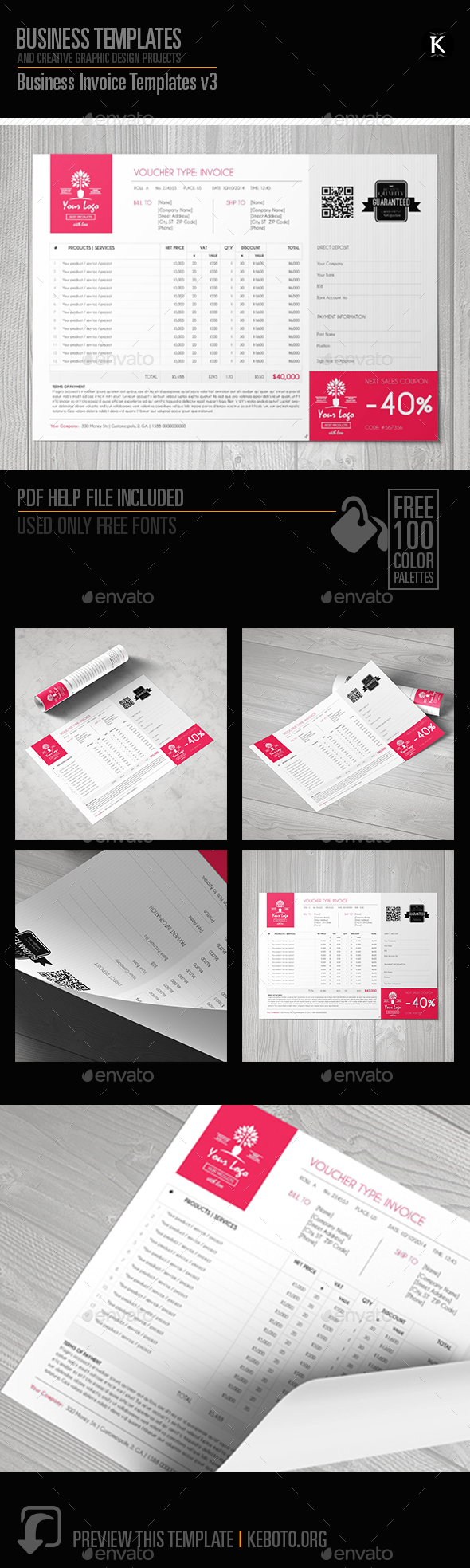 Business Invoice Templates v3 - Proposals & Invoices Stationery