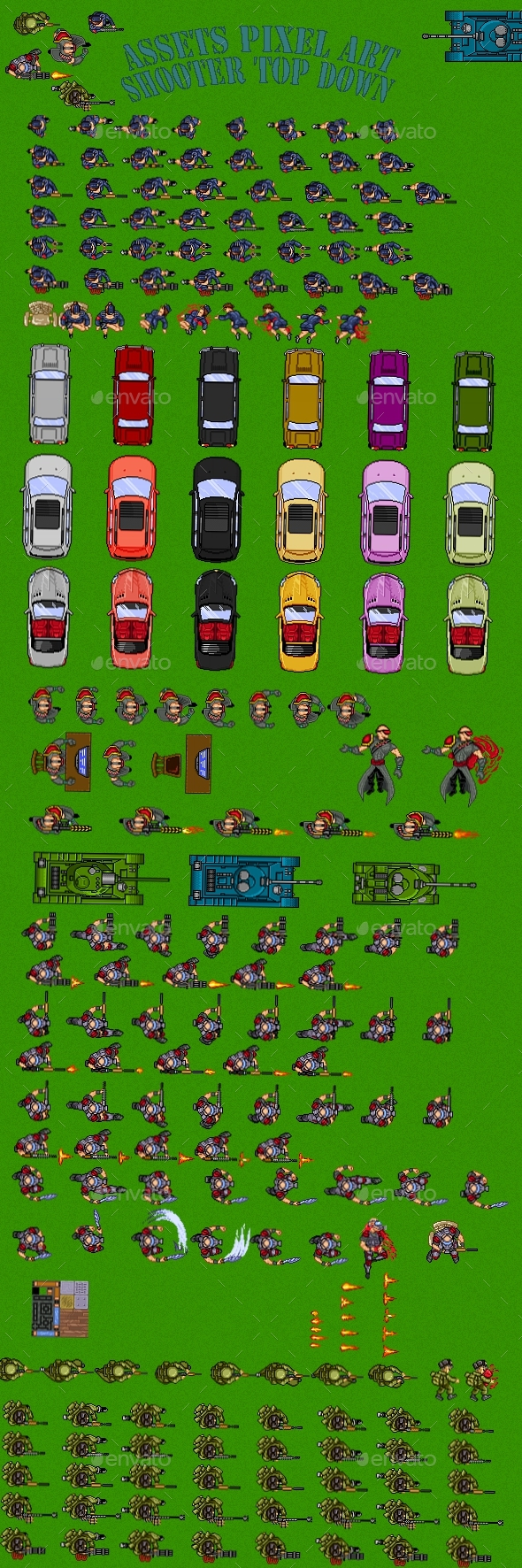 Assets Pixel Art Shooter Top Down - Sprites Game Assets