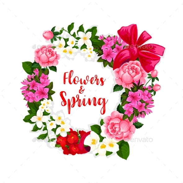 Wreath of Spring Flowers and Vector Bouquets by VectorTradition ...