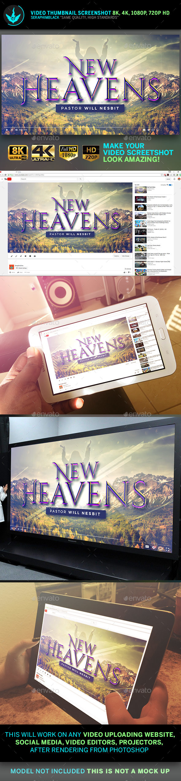 New Heavens YouTube Video Thumbnail Screenshot Template - YouTube Social Media