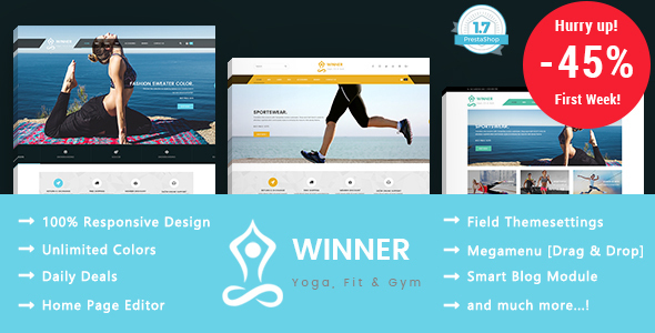 Winner – Yoga Gym & Fitness Responsive Prestashop 1.7 Theme