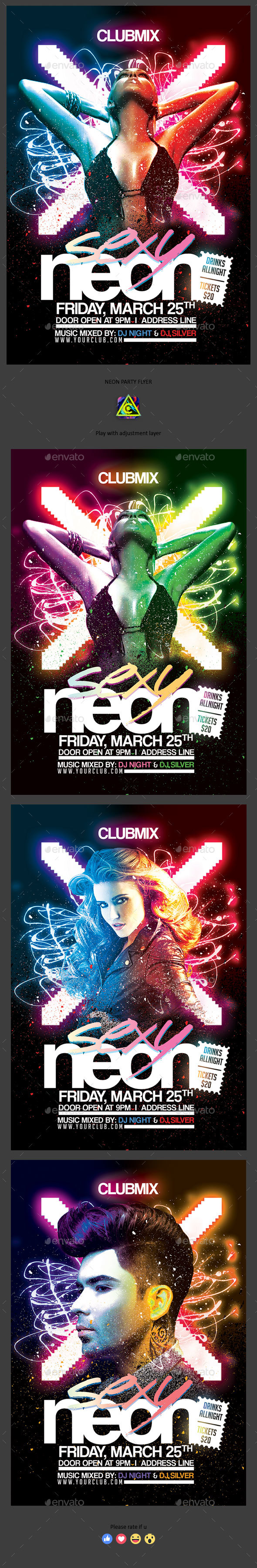Sexy Neon Flyer - Clubs & Parties Events