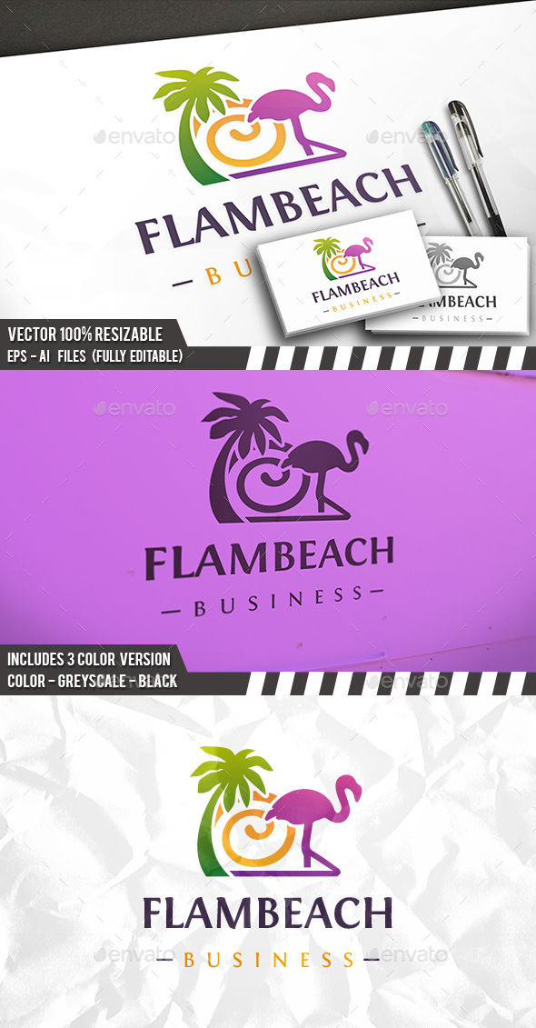 Flamingo Beach Logo - Nature Logo Templates
