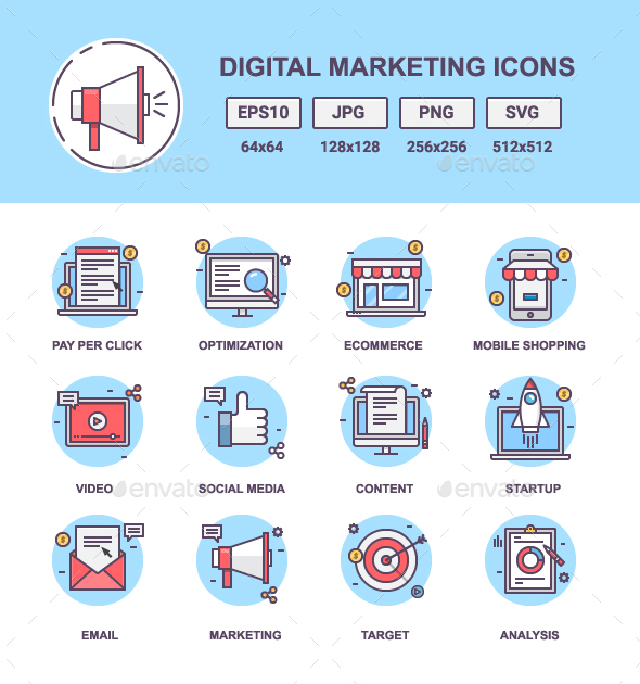 Digital Marketing Outline Icons - Technology Icons