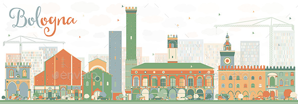Abstract Bologna Skyline with Color Landmarks. - Buildings Objects