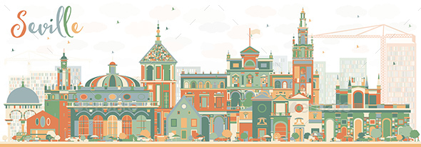 Abstract Seville Skyline with Color Buildings. - Buildings Objects