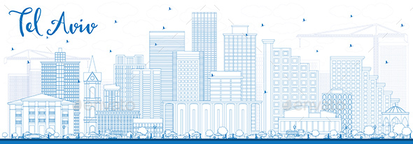 Outline Tel Aviv Skyline with Blue Buildings. - Buildings Objects