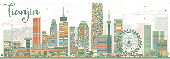 Abstract Tianjin Skyline with Color Buildings. - Buildings Objects