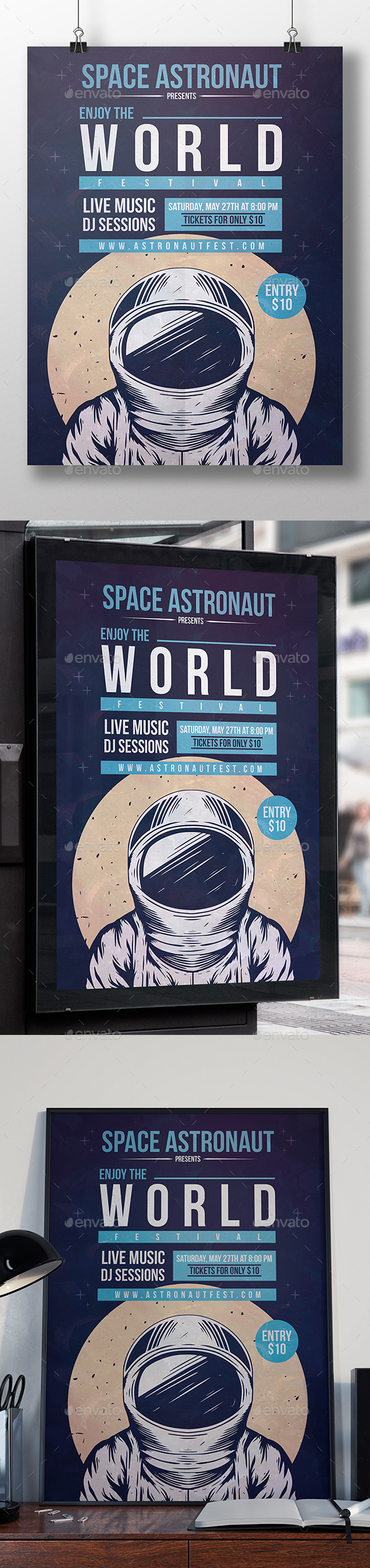 Space Astronaut Flyer Template - Clubs & Parties Events