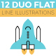 12 Duo Flat Line Web Banner Illustrations - GraphicRiver Item for Sale