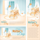 Banners with the Mother and the Child in the Cot. Happy Mother's Day. - GraphicRiver Item for Sale