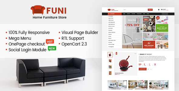 Funi – Drag & Drop eCommerce OpenCart 2.3 Theme