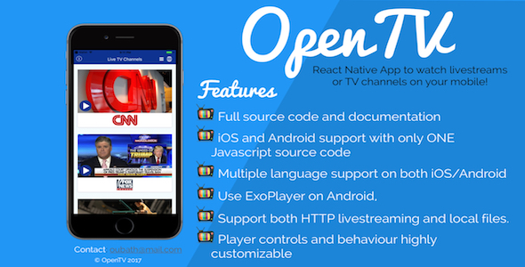 OpenTV - React Native App (Android/iOS) for TV Channels and livestreams - CodeCanyon Item for Sale