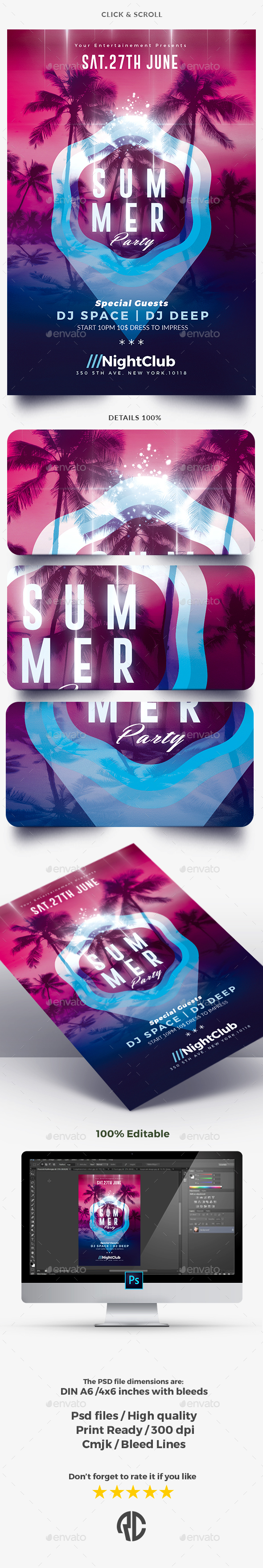 Summer Party - Flyer Template - Clubs & Parties Events