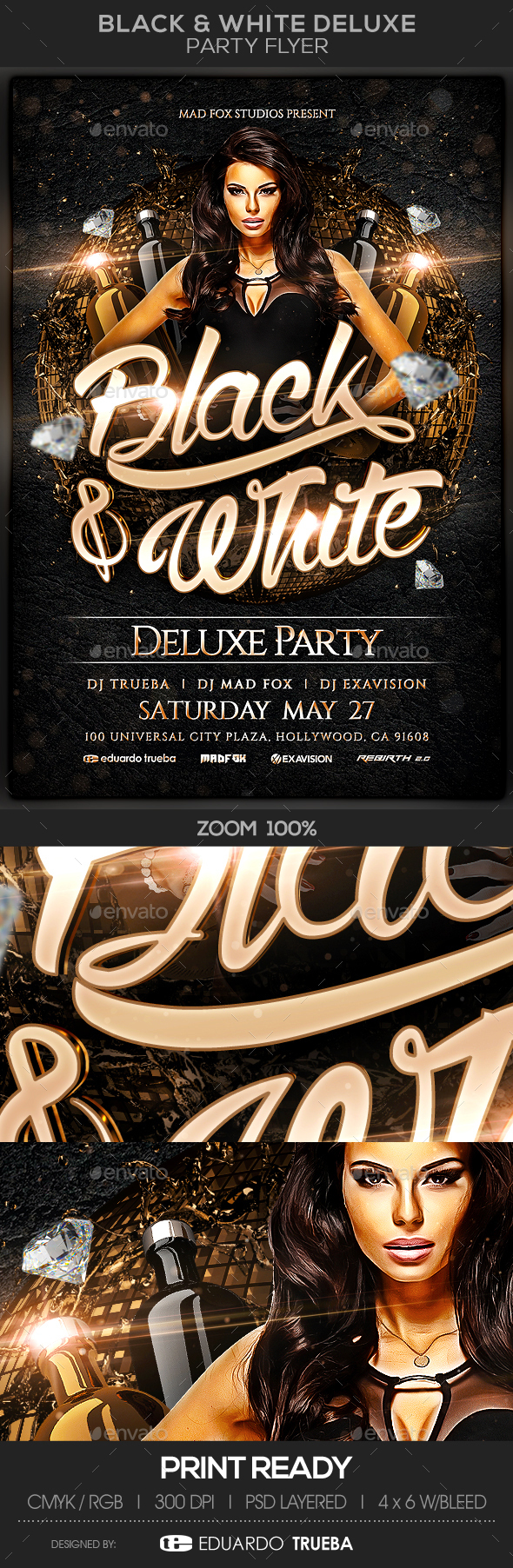 Black & White Deluxe Party Flyer - Clubs & Parties Events