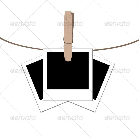 Photo Frames on the Rope with the Clothes Peg - Retro Technology