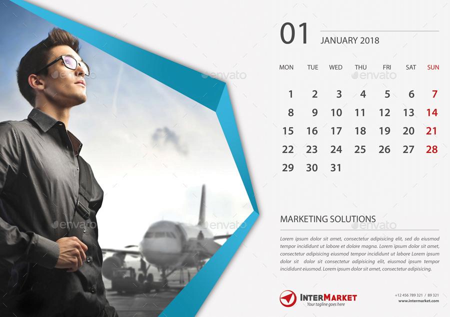 Corporate Desk Calendar 2018 V02 by rapidgraf | GraphicRiver