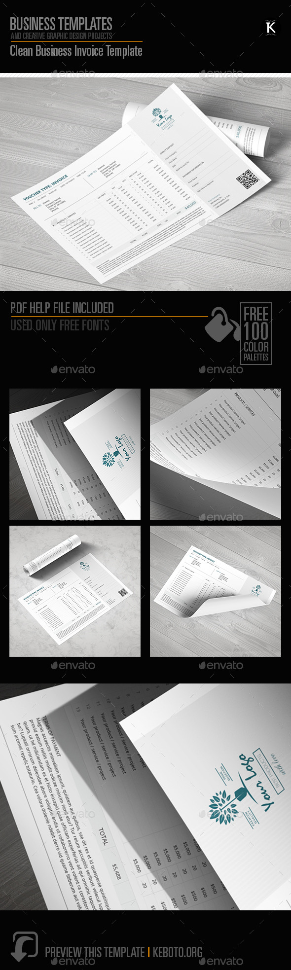 Clean Business Invoice Template - Proposals & Invoices Stationery
