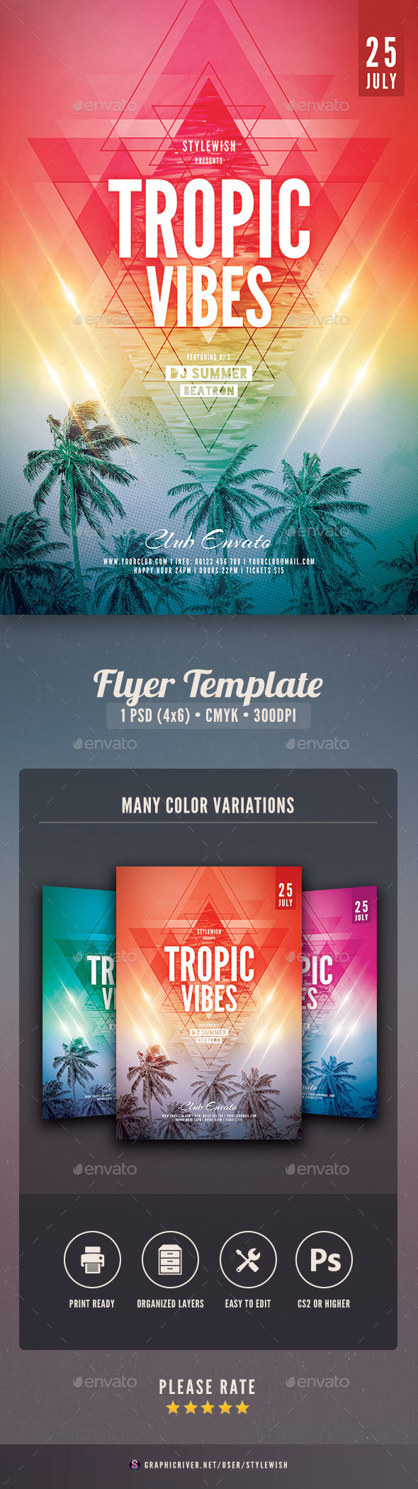 Tropic Vibes Flyer - Clubs & Parties Events