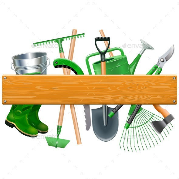 Vector Wooden Board with Garden Tools - Miscellaneous Vectors