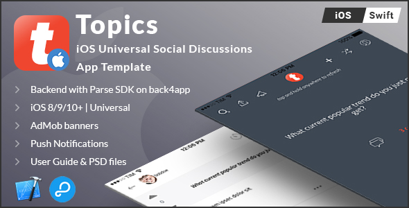 Download Source code              Topics | iOS Universal Social Discussion App Template (Swift) nulled version