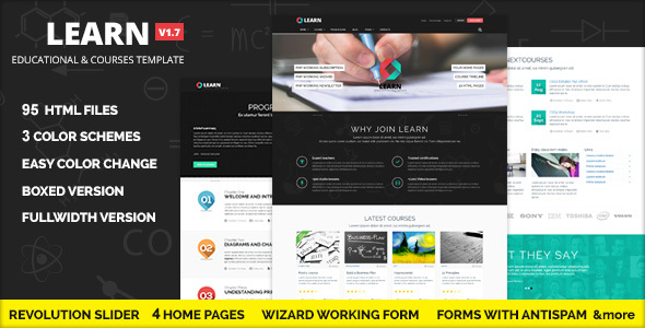 LEARN -  Courses, Workshop, Educational template - Corporate Site Templates