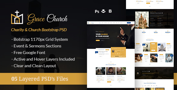 Grace Church – Charity & Church Bootstrap PSD Template