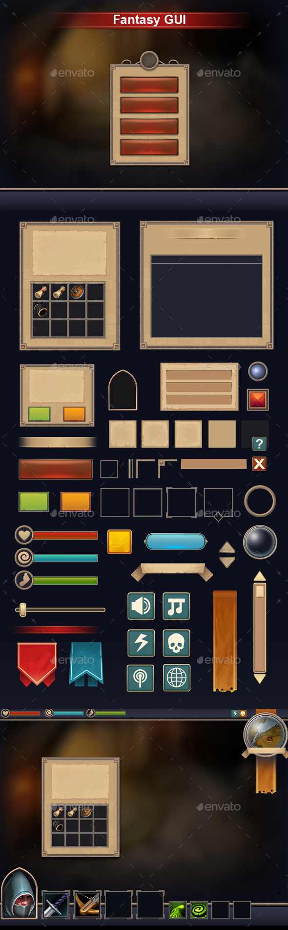 Fantasy GUI - User Interfaces Game Assets
