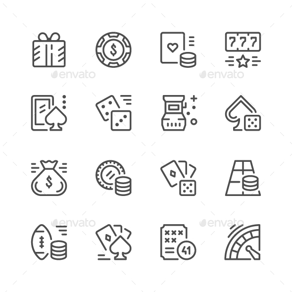 Set Line Icons of Gambling - Man-made objects Objects
