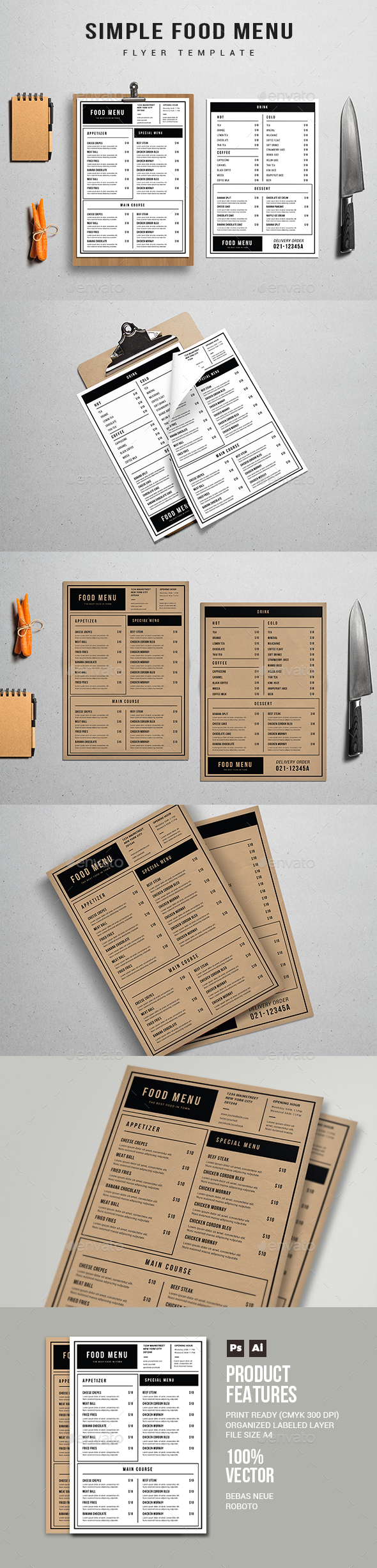 Simple Food Menu - Restaurant Flyers
