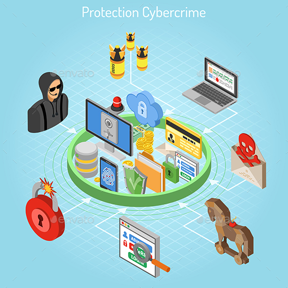 Cyber Crime Protection Isometric Concept - Computers Technology