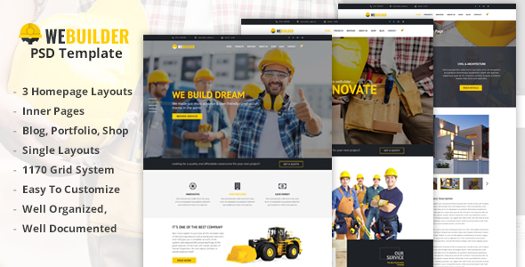 WEBUILDER - Construction & Building PSD Template - PSD Templates