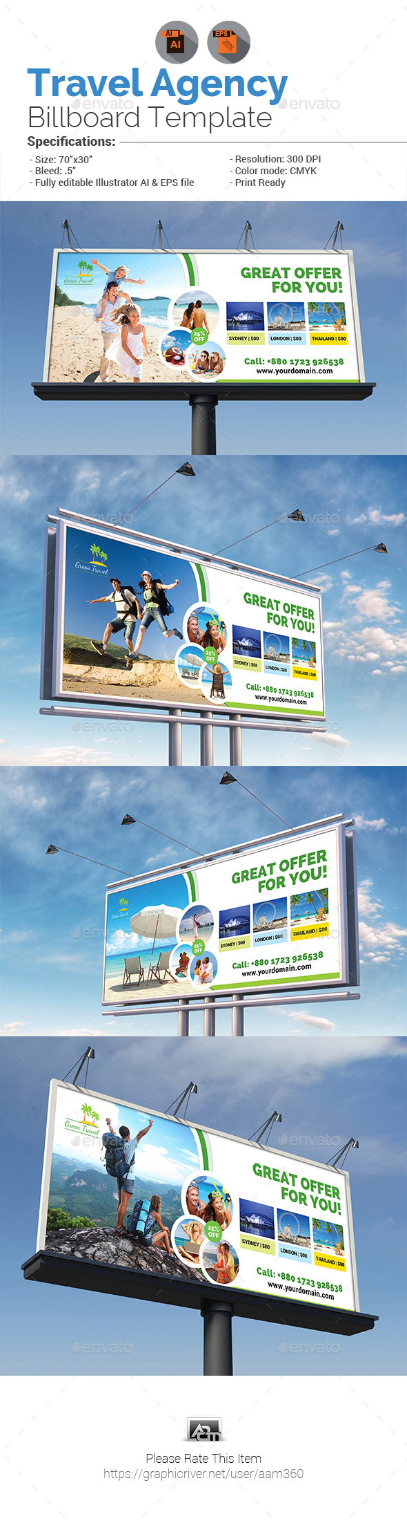 Holiday Tour & Travel Billboard Template - Signage Print Templates