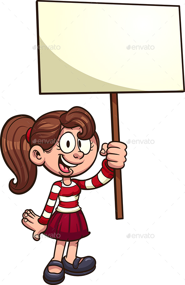 Girl with Sign - People Characters