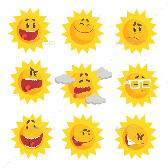 Cartoon Sun Emojis - Miscellaneous Vectors