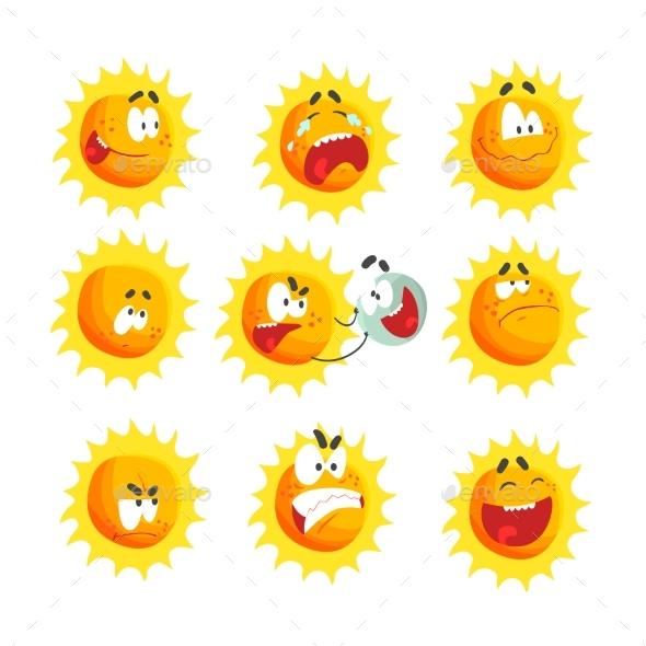 Cartoon Sun Various Emoticons - Miscellaneous Vectors