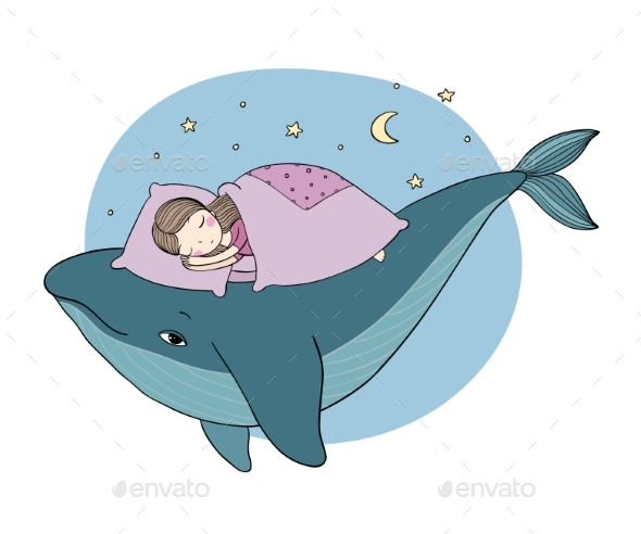 Little Girl Sleeping on a Whale - People Characters