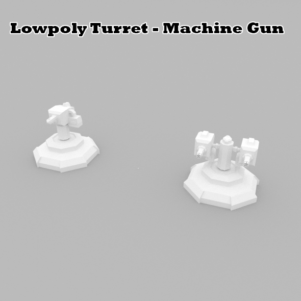 Lowpoly Turret Machine Gun - 3DOcean Item for Sale