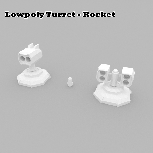 Lowpoly Turret Rocket - 3DOcean Item for Sale