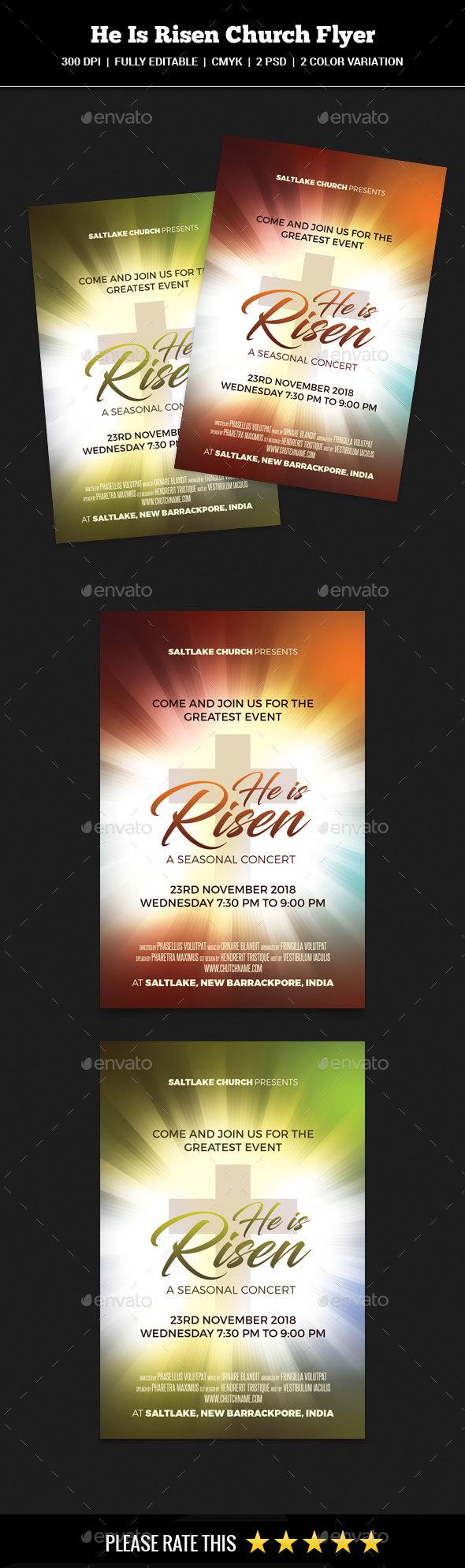Risen Church Event Flyer - Church Flyers