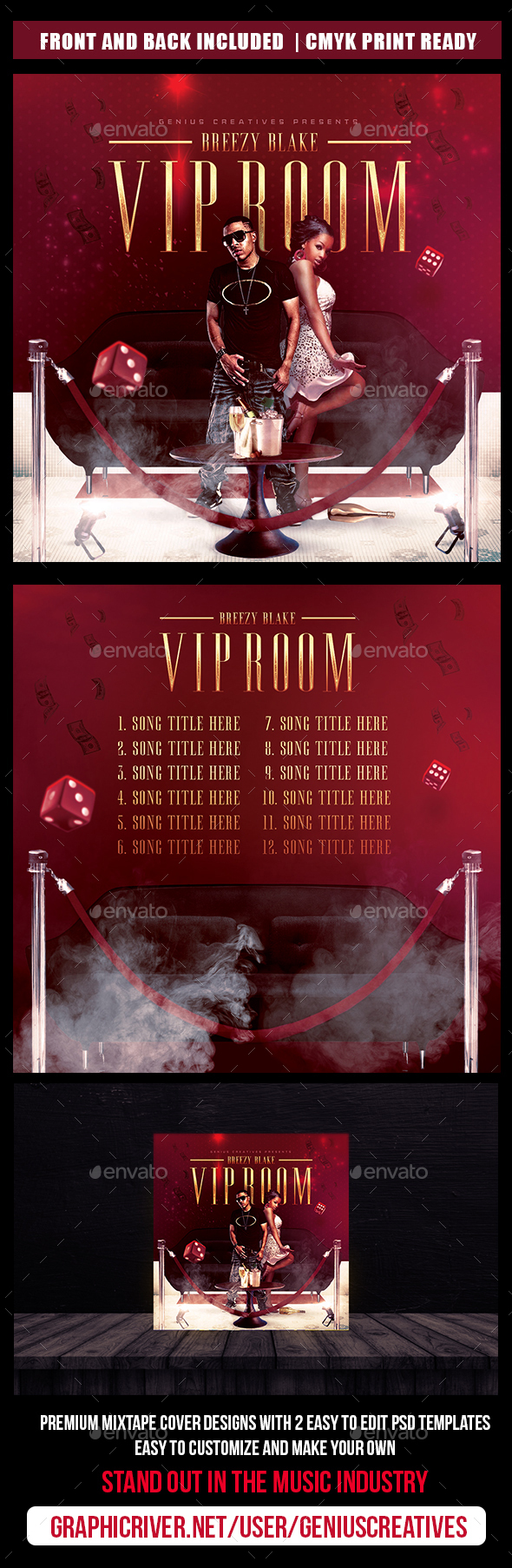 VIP Room Mixtape Cover Template - CD & DVD Artwork Print Templates