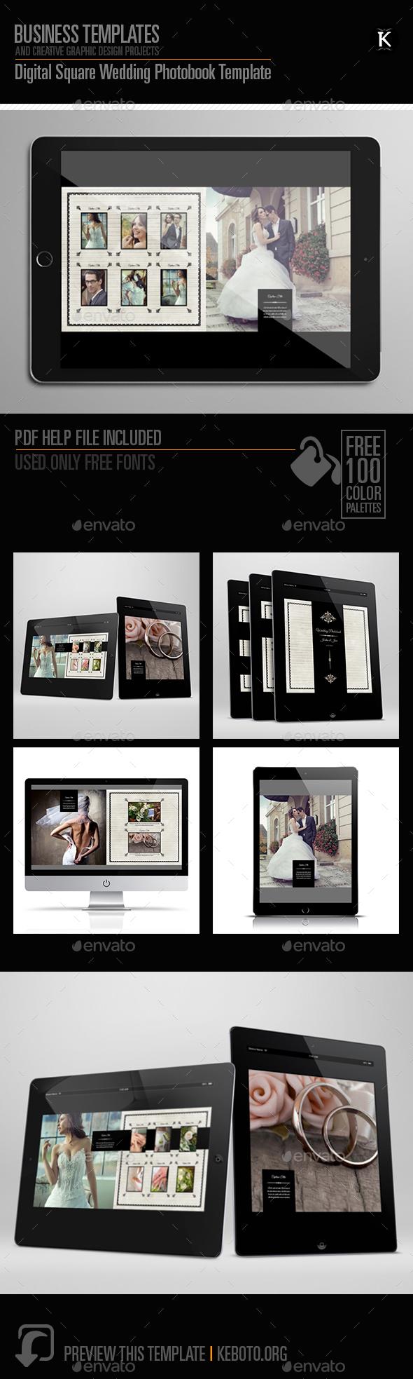 Digital Square Wedding Photobook Template - ePublishing