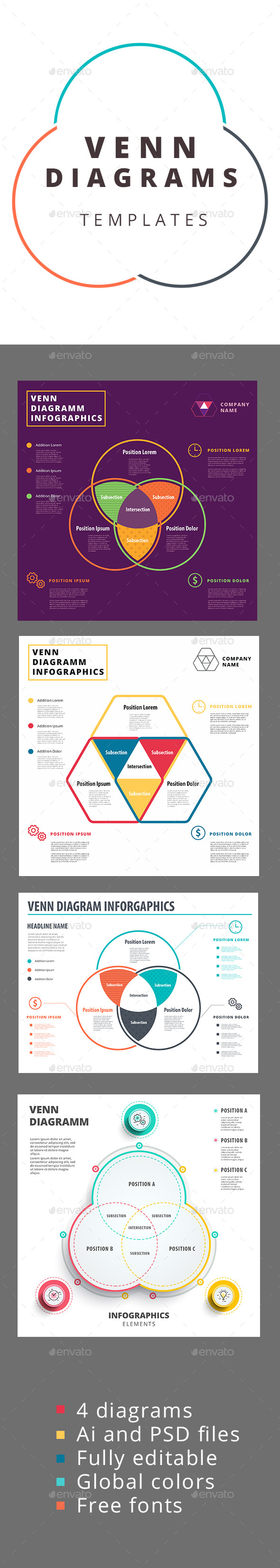 Venn diagram templates - Infographics
