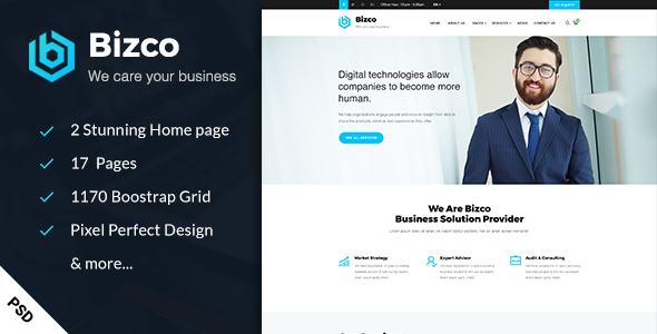 Bizco – Business & Consulting PSD Template