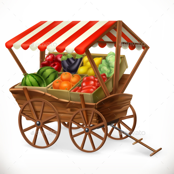 Cart with Fruits and Vegetables - Food Objects