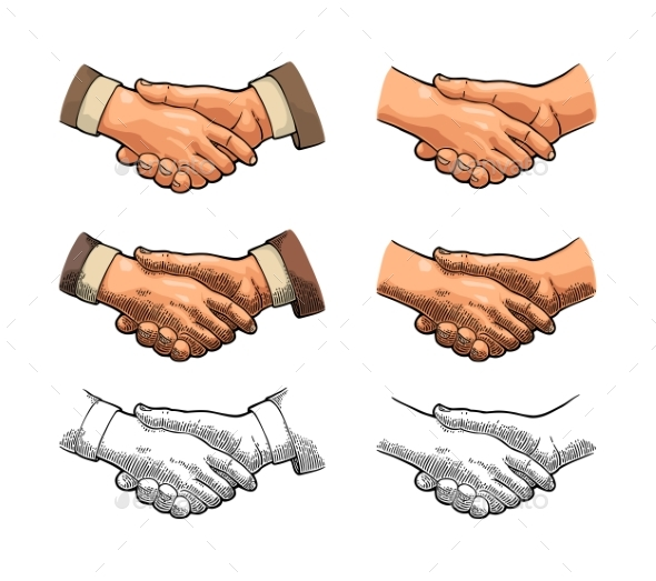 Handshake Vintage Engraving - Concepts Business
