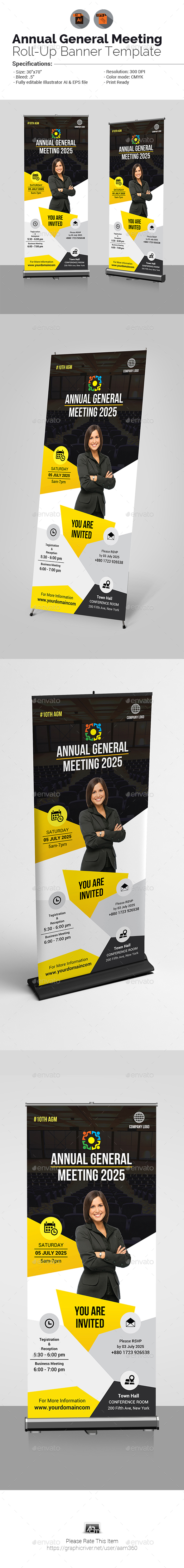 Annual General Meeting Roll-Up Banner - Signage Print Templates